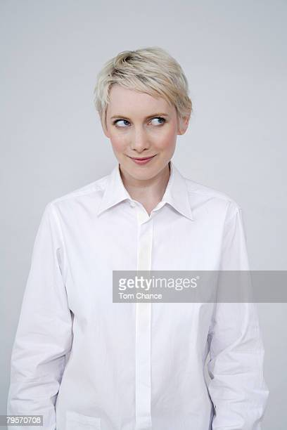 Young woman on white background, portrait