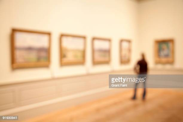 young woman out of focus observing row of paintings - met art gallery photos et images de collection