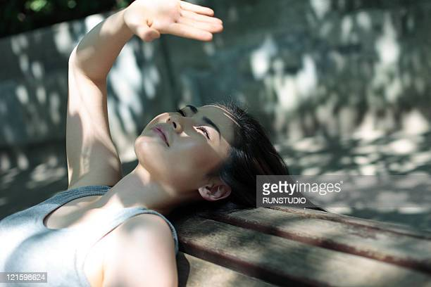young woman outdoor exercise