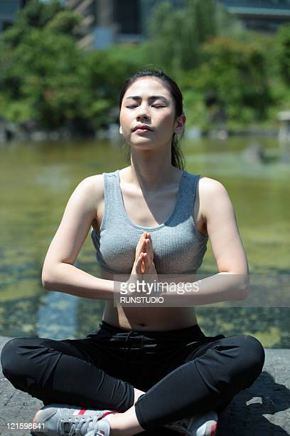 young woman outdoor exercise,yoga
