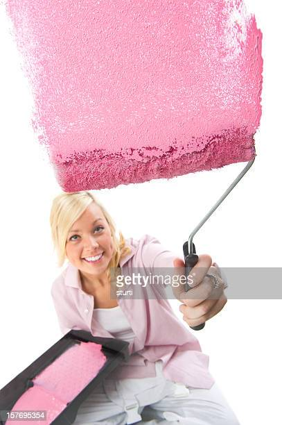 Young Woman Painting with Pink Paint - Isolated