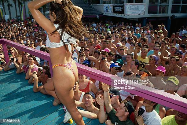 A young woman parades around for the Hot Bod contest during Spring Break in Daytona Beach