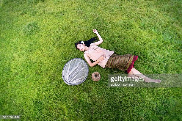 A young woman people sleep relaxing