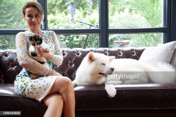 自宅で彼女の猫と犬をかわいがっている若い女性 - 八幡平市 ストックフォトと画像