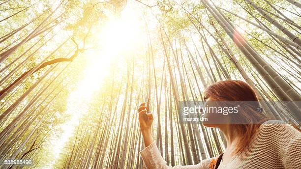 Young woman photographing bamboo forest in Kyoto