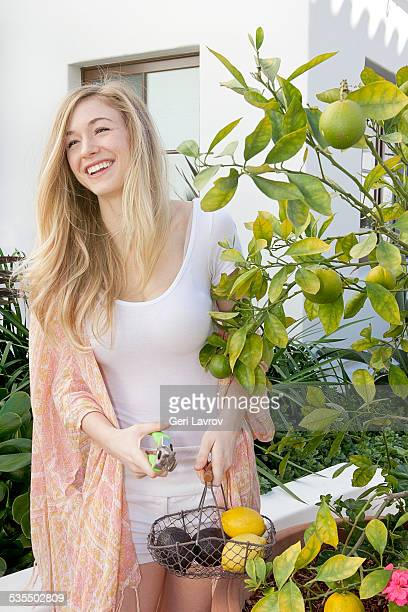 Young woman picking lemons and avocados