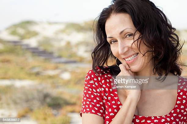 young woman - hand on chin stock pictures, royalty-free photos & images