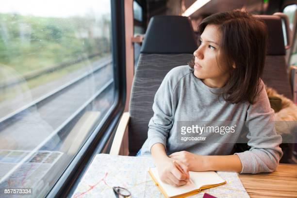 Jeune femme vous planifiez un voyage, voyager en train