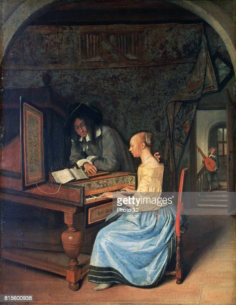 A Young Woman playing a Harpsichord' c1659 Dutch interior with girl at keyboard sightreading from an open music book Jan Steen Dutch painter