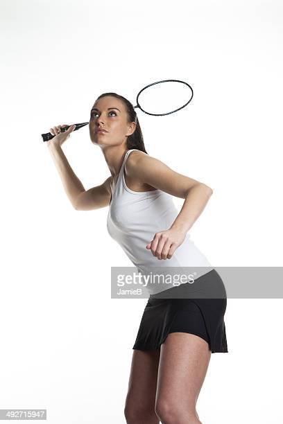 若い女性がバドミントン - スポーツ バドミントン ストックフォトと画像