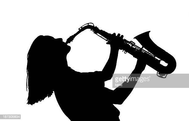 Giovane donna giocare Sassofono in bianco e nero