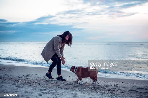 young woman playing with pet dog on beach - odessa ukraine stock pictures, royalty-free photos & images