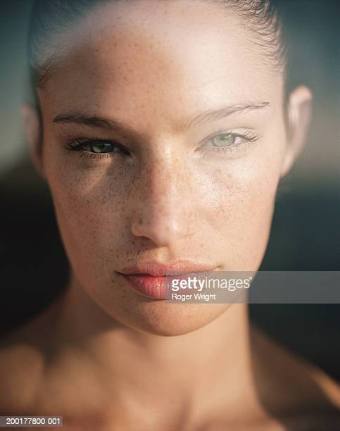 young woman, portrait, close-up - freckle stock photos and pictures