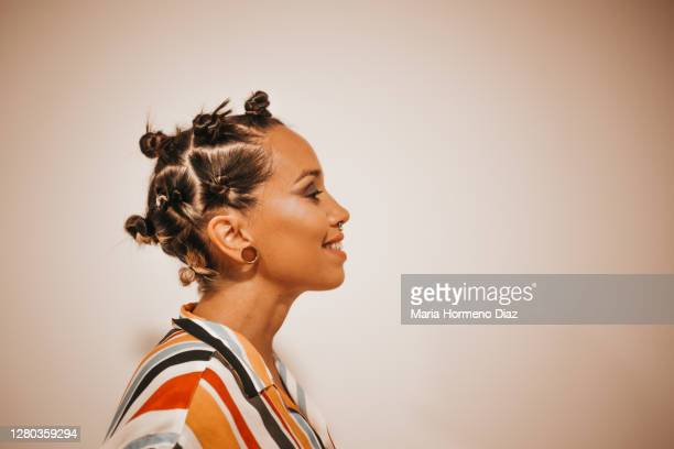 young woman portrait, hairstyle - profile stock pictures, royalty-free photos & images