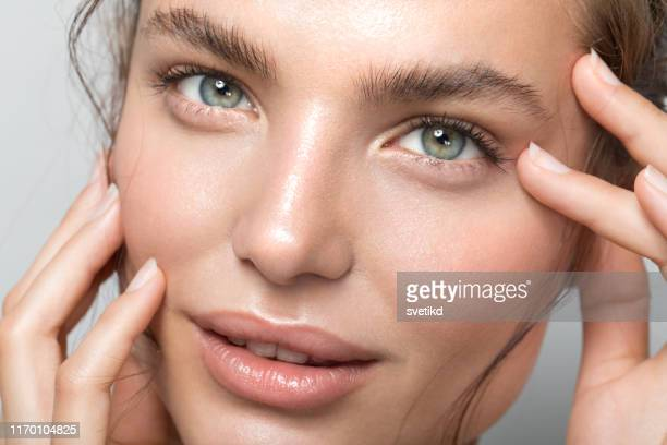 young woman portrait - eyebrow stock pictures, royalty-free photos & images