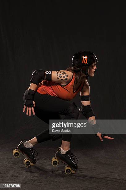 Young woman portrait ready for roller derby