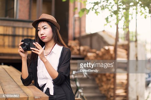 The Young Woman In The Outdoor Bathing High-Res Stock