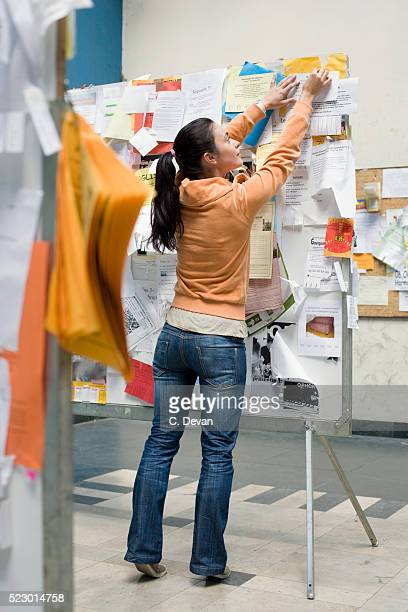 young woman posting flyer on bulletin board - bulletin board flyer stock pictures, royalty-free photos & images