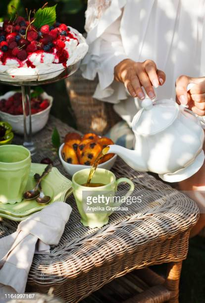 young woman pouring tea in cup. teatime in summer garden - lady madeleine stock-fotos und bilder