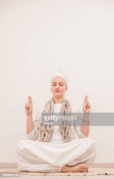 Young Woman Practicing Mudra, Kundalini Yoga Asana