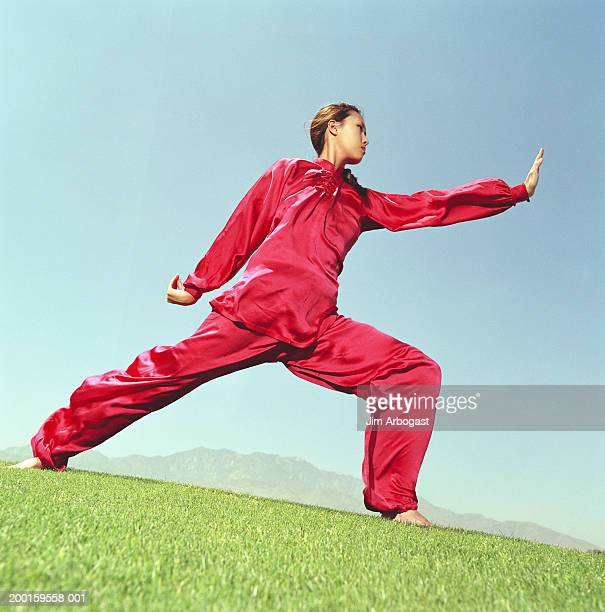Young woman practicing Tai Chi, low angle view