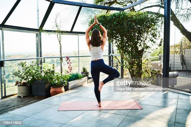 young woman practicing tree pose on exercise mat - tree position stock photos and pictures