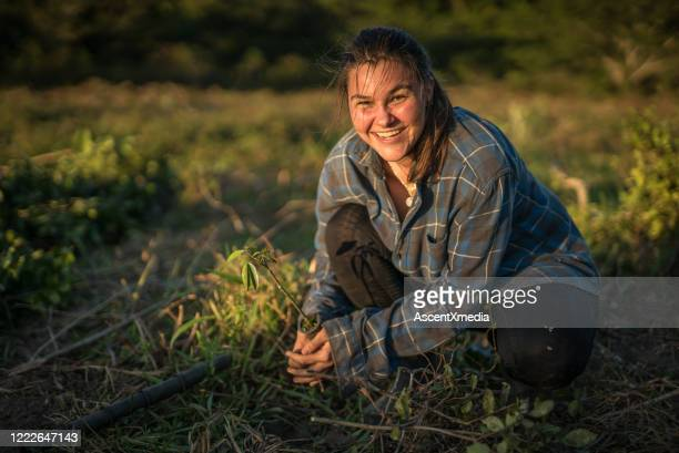 young woman prepares to plant seedling - farmer stock pictures, royalty-free photos & images