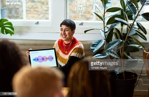 young woman presenting product launch on laptop - publicity event stock pictures, royalty-free photos & images