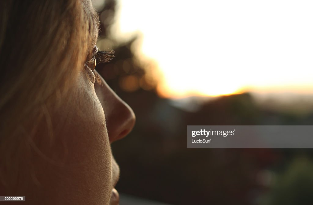 Young Woman Profile Close up : Stock Photo