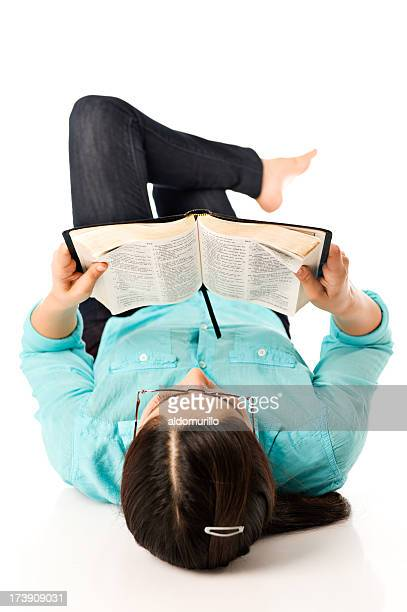 young woman reading - free bible image stock pictures, royalty-free photos & images