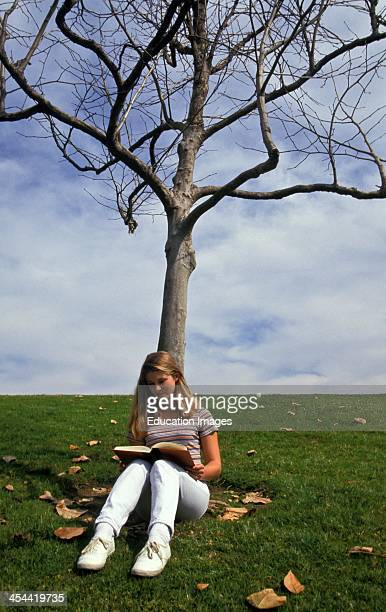 Young Woman Reading Under A Tree Age 18