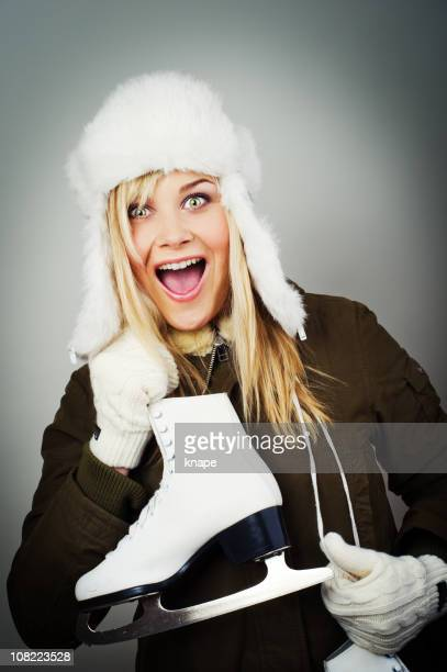 Young Woman Ready to Go Ice Skating