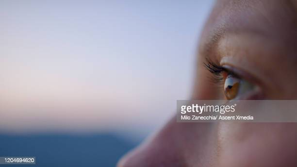 young woman relaxes on lakeshore wharf, looks out to view - brown eyes stock pictures, royalty-free photos & images