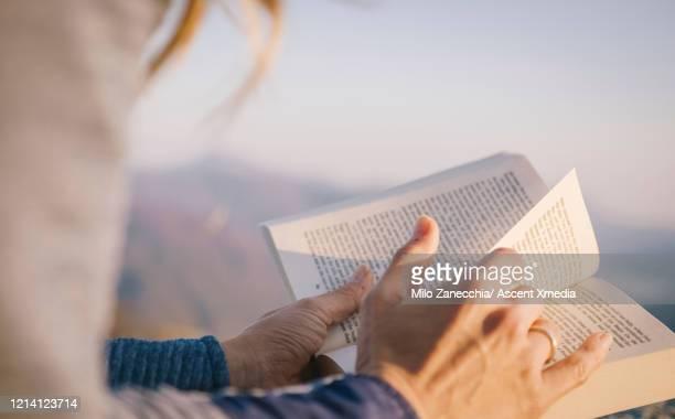 young woman relaxes with book - foco diferencial imagens e fotografias de stock
