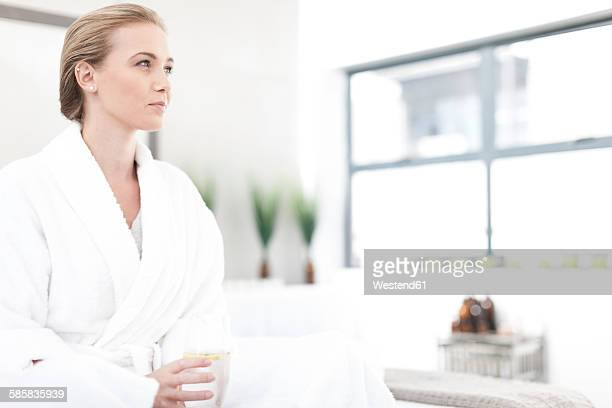 Young woman relaxing in a spa