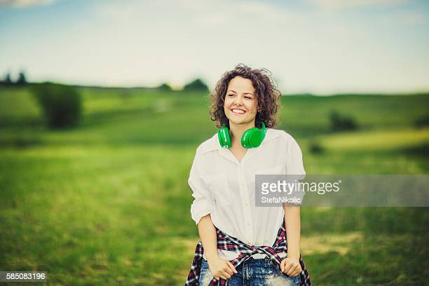 Young woman relaxing in the park
