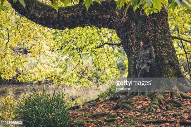 young woman resting by a beautiful forest area - youth culture stock pictures, royalty-free photos & images