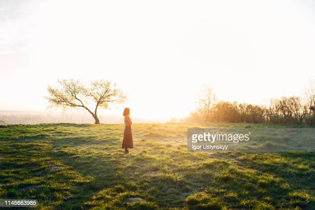 young woman resting in the field at sunset - tegenlicht stockfoto's en -beelden