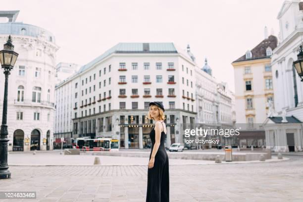 young woman resting in vienna - wien stock-fotos und bilder