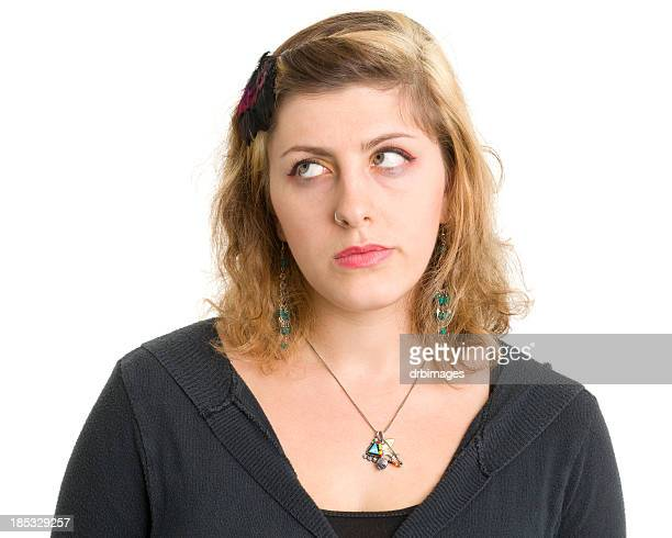 Young Woman Rolling Eyes