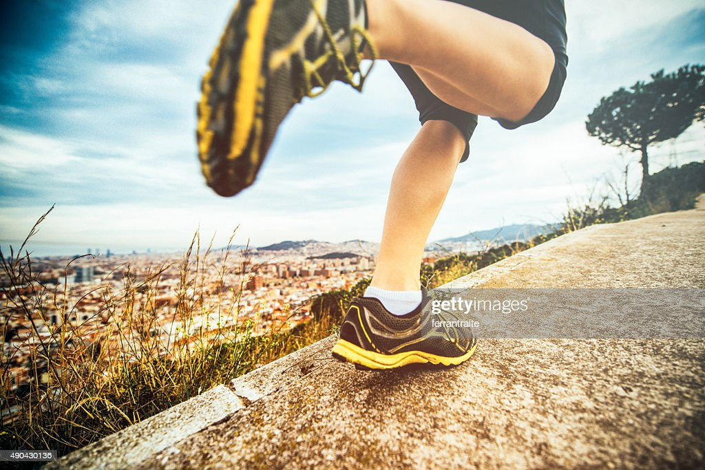 Young woman Running in Barcelona : Stock Photo