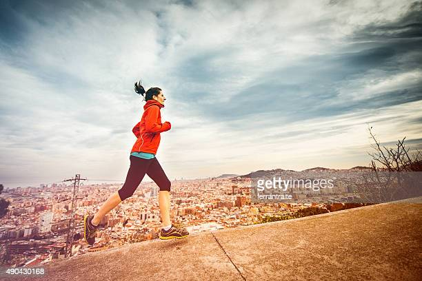 Young woman Running in Barcelona