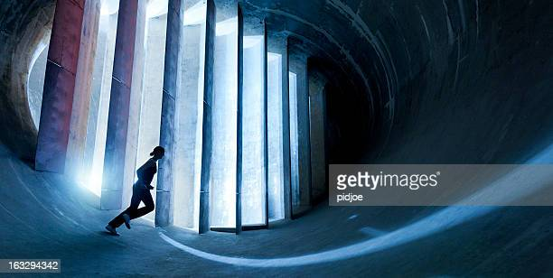 young woman running in futuristic environment