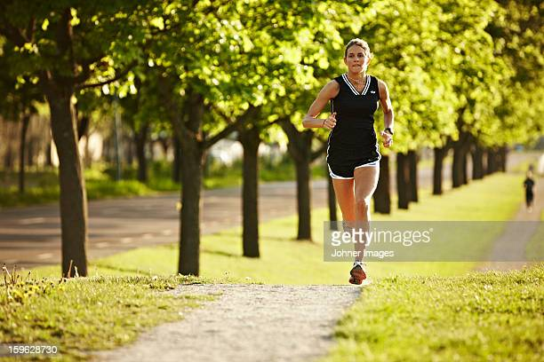 Young woman running, Sweden.