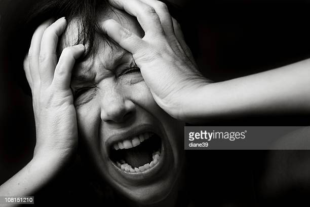 Young Woman Screaming, Black and White