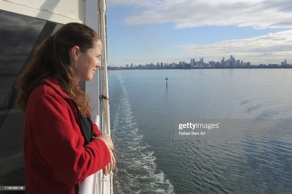 Young woman sea passenger : Stock Photo