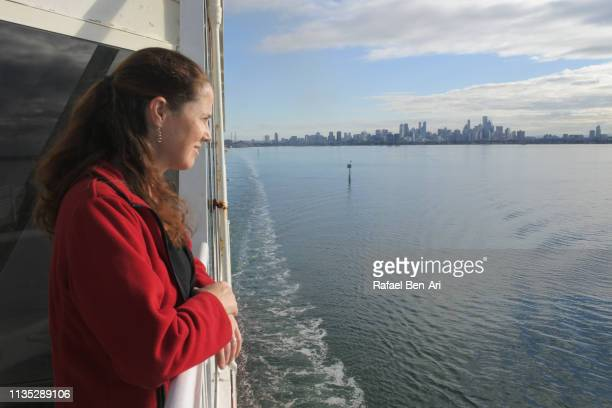 Young woman sea passenger