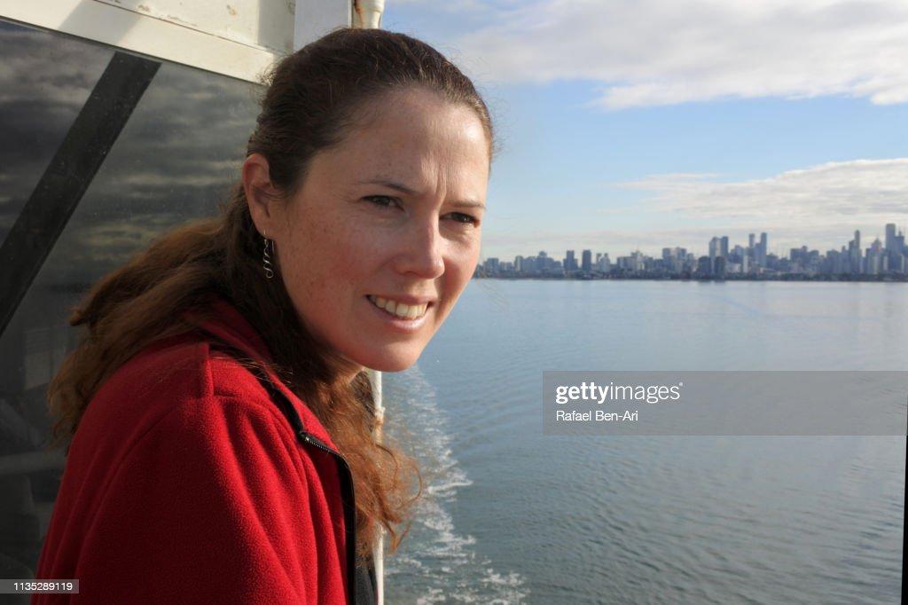 Young woman sea passenger : Stock Photo