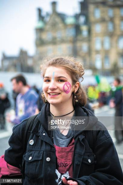 A young woman seen during the Extinction Rebellion protest Extinction Rebellion held a lockdown of Edinburgh's North Bridge as part of an...