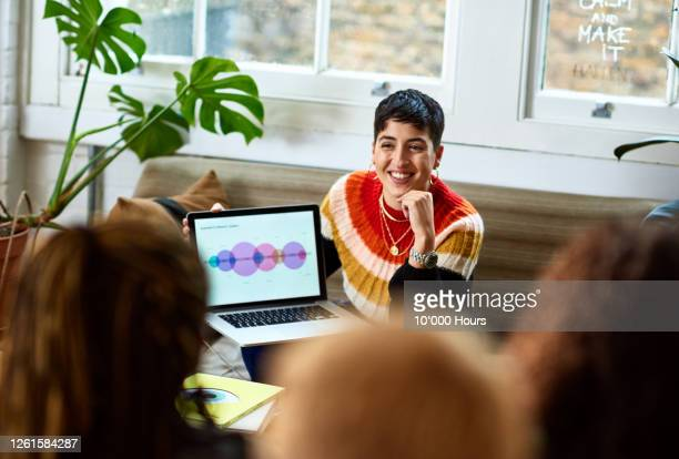 young woman sharing research information with colleagues - publicity event stock pictures, royalty-free photos & images